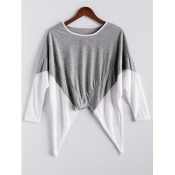 Fashion Style Women's Blouse With Color Block Splice Irregular Hem Loose Fit Design