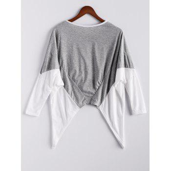 Fashion Style Women's Blouse With Color Block Splice Irregular Hem Loose Fit Design - ONE SIZE ONE SIZE