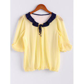 Chiffon Color Block Sweet Style Scoop Neck 3/4 Sleeves Women's Blouse