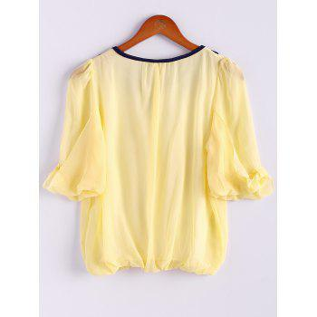 Chiffon Color Block Sweet Style Scoop Neck 3/4 Sleeves Women's Blouse - YELLOW YELLOW