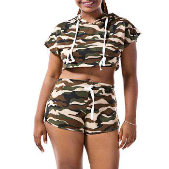 Camo Hooded Crop Top with Shorts