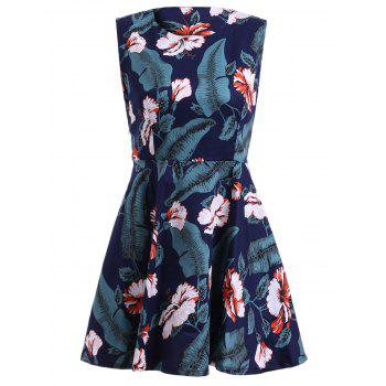 Vintage Style Women's Scoop Neck Sleeveless Floral and Leaf Print Dress - GREEN ONE SIZE(FIT SIZE XS TO M)