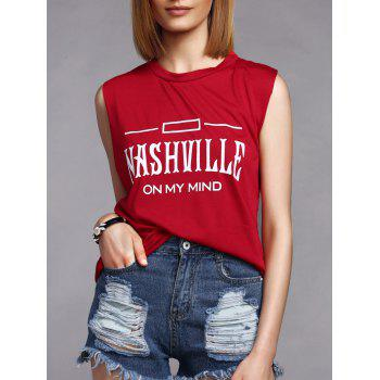 Leisure Style Letter Print Round Collar Women's Tank Top