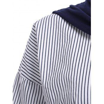 Chic Short Sleeve Striped Faux Twinset Women's Long Shirt - BLUE/WHITE ONE SIZE(FIT SIZE XS TO M)