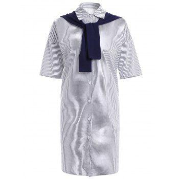 Chic Short Sleeve Striped Faux Twinset Women's Long Shirt