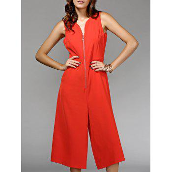Sleeveless Front Zip Wide Leg Jumpsuit