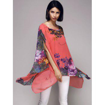 Boat Neck Floral Asymmetric Cape Blouse