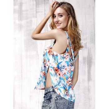 Trendy Furcal Floral Print Beach Tank Top For Women - LIGHT BLUE S