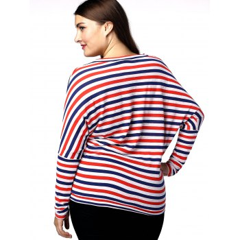 Casual Plus Size Striped Batwing Sleeve Women's T-Shirt - RED/WHITE/BLUE 2XL