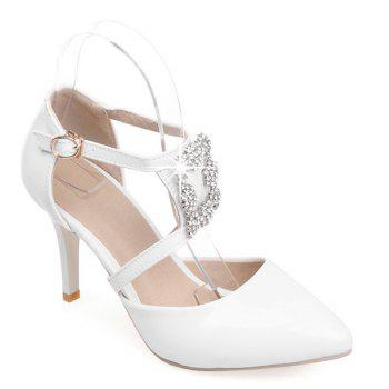 Fashion Patent Leather and White Color Design Women's Pumps