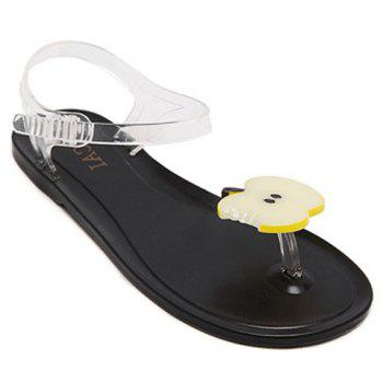 Leisure Transparent Plastic and Apple Pattern Design Women's Sandals