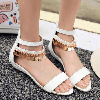 Simple Metal and Zip Design Women's Sandals - WHITE 38
