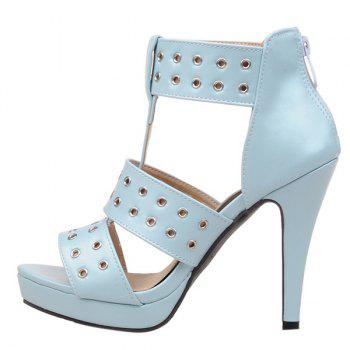 Fashionable Hollow Out and Zipper Design Women's Sandals - LIGHT BLUE 39
