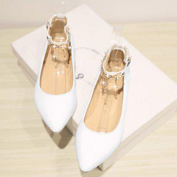 Casual Chains and Patent Leather Design Women's Flat Shoes - WHITE WHITE
