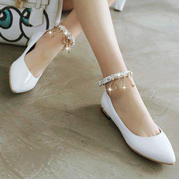 Casual Chains and Patent Leather Design Women's Flat Shoes - WHITE 38