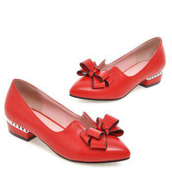 Casual PU Leather and Bow Design Women's Flat Shoes - RED 39
