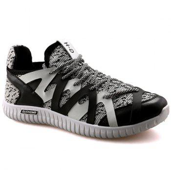 Leisure Color Block and Lace-Up Design Men's Athletic Shoes - BLACK AND GREY 44