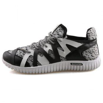 Leisure Color Block and Lace-Up Design Men's Athletic Shoes - BLACK/GREY BLACK/GREY
