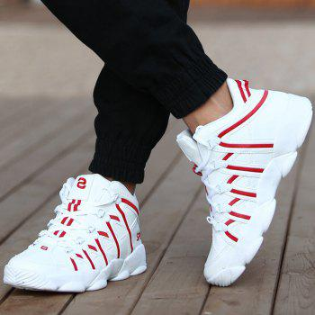 High Top Striped Sneakers - RED RED
