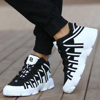 High Top Striped Sneakers - BLACK BLACK