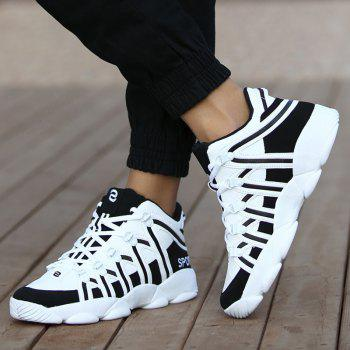 High Top Striped Sneakers - WHITE WHITE