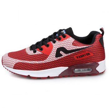 Trendy Color Block and Mesh Design Men's Athletic Shoes - RED 41