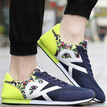 Stylish Splicing and Print Design Men's Athletic Shoes - BLUE/GREEN BLUE/GREEN