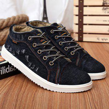 Trendy Lace-Up and Holes Design Men's Canvas Shoes - BLACK 43