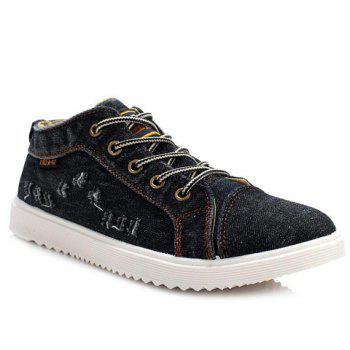 Trendy Lace-Up and Holes Design Men's Canvas Shoes