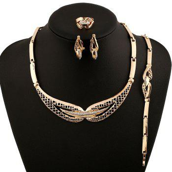 A Suit of Trendy Rhinestone Fake Collar Necklace Bracelet Ring and Earrings For Women