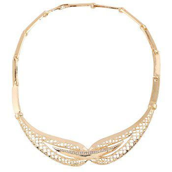 A Suit of Trendy Rhinestone Fake Collar Necklace Bracelet Ring and Earrings For Women - GOLDEN