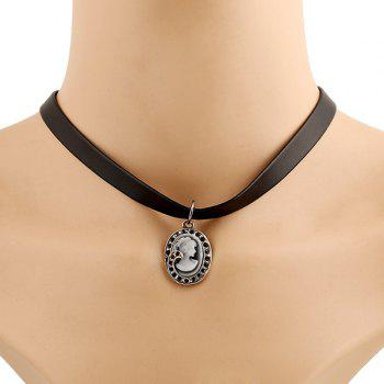 Round Beauty Face Choker Necklace - BLACK BLACK