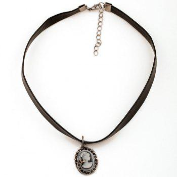 Round Beauty Face Choker Necklace -  BLACK