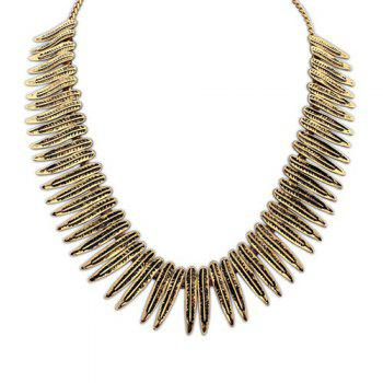 Ethnic Leaf Fake Collar Necklace - BRONZE-COLORED BRONZE COLORED