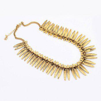 Ethnic Leaf Fake Collar Necklace -  BRONZE COLORED