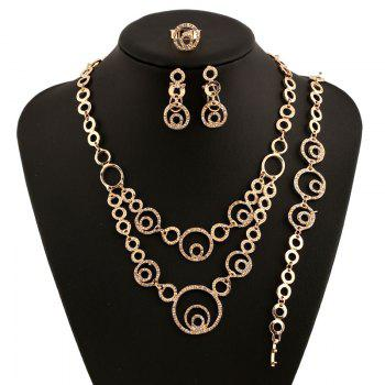 A Suit of Retro Style Round Rhinestone Necklace Bracelet Ring and Earrings For Women