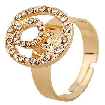 A Suit of Retro Style Round Rhinestone Necklace Bracelet Ring and Earrings For Women - CHAMPAGNE