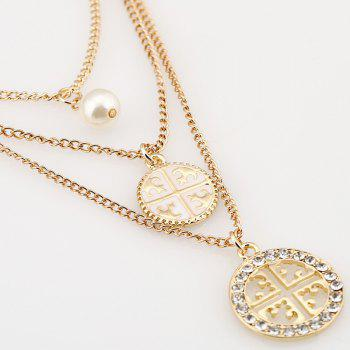 Faux Pearl Multilayered Round Hollow Out Rhinestone Necklace - CHAMPAGNE