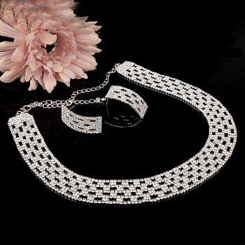 A Suit of Hollow Out Rhinestoned Necklace and Earrings - SILVER