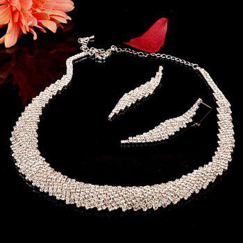 Rhinestone Geometric Necklace Earrings Ring and Bracelet - SILVER ONE-SIZE