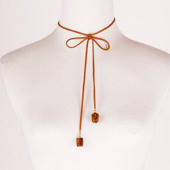 Faux Leather Rope Bowknot Necklace
