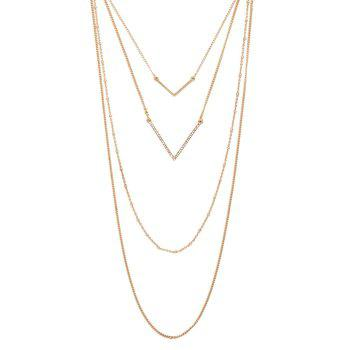 Gorgeous Multilayered V-Shaped Sweater Chain For Women - GOLDEN