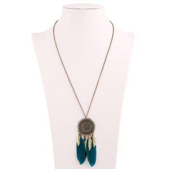 Bohemia Round Feather Tassel Sweater Chain
