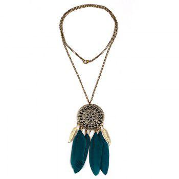 Bohemia Round Feather Tassel Sweater Chain - BLACKISH GREEN