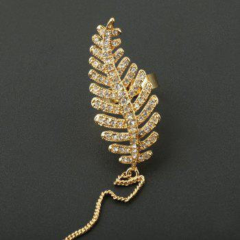 Rhinestone Feather Bracelet with Ring - GOLDEN