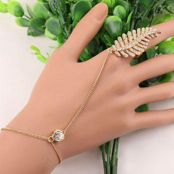 Rhinestone Feather Bracelet with Ring
