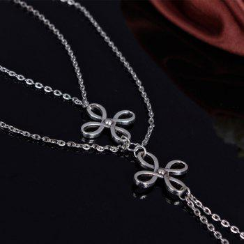 Retro Multilayer Hollow Out Chinese Knot Anklet For Women - SILVER