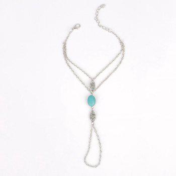 Faux Turquoise Bead Hollow Out Flower Anklet - SILVER SILVER