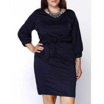 Stylish Bow Decorated Scoop Neck Plus Size Solid Color Skinny Dress For Women