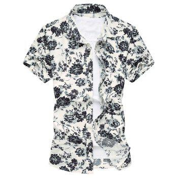 Plus Size Turn-Down Collar Color Ink Flowers Short Sleeve Men's Shirt